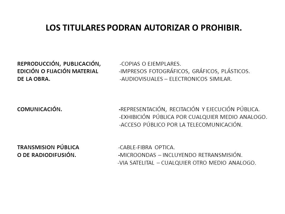 LOS TITULARES PODRAN AUTORIZAR O PROHIBIR. REPRODUCCIÓN, PUBLICACIÓN, -COPIAS O EJEMPLARES. EDICIÓN O FIJACIÓN MATERIAL -IMPRESOS FOTOGRÁFICOS, GRÁFIC
