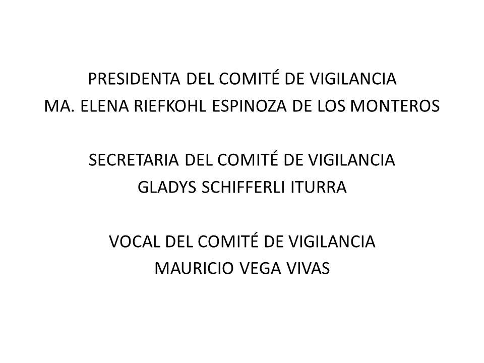 PRESIDENTA DEL COMITÉ DE VIGILANCIA MA. ELENA RIEFKOHL ESPINOZA DE LOS MONTEROS SECRETARIA DEL COMITÉ DE VIGILANCIA GLADYS SCHIFFERLI ITURRA VOCAL DEL