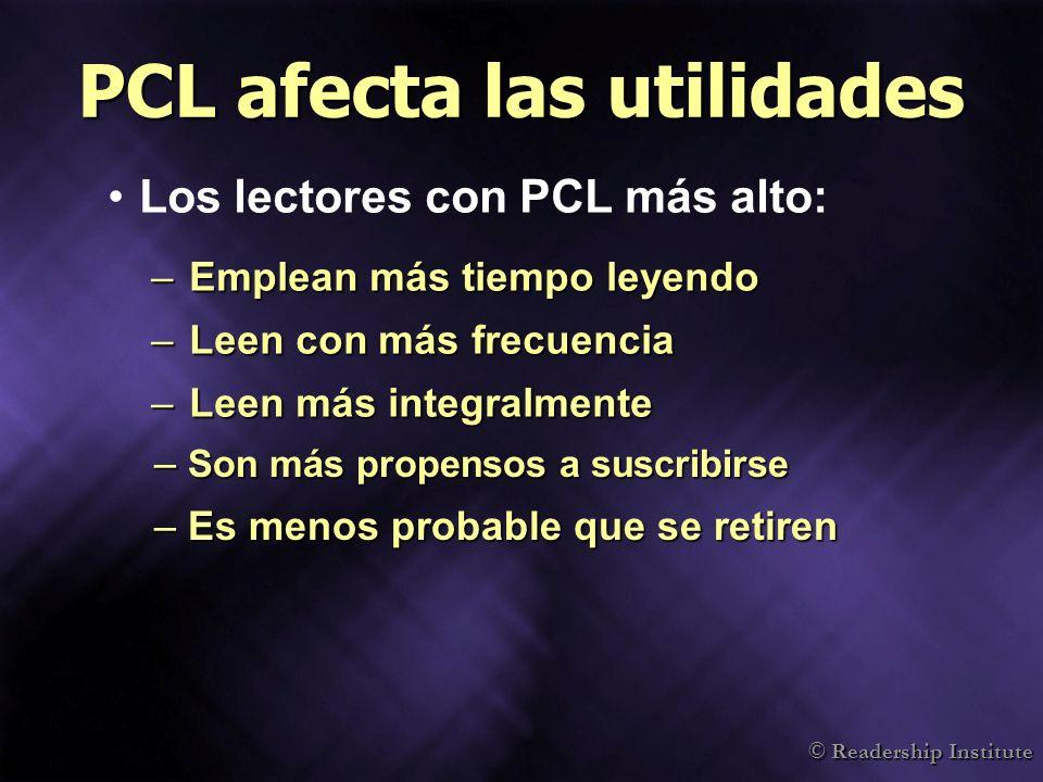 © Readership Institute PCL afecta las utilidades Los lectores con PCL más alto: –Emplean más tiempo leyendo –Leen con más frecuencia –Leen más integra