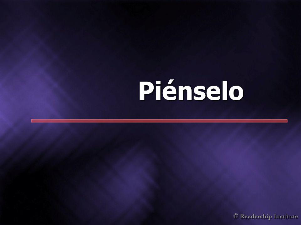 © Readership Institute Piénselo
