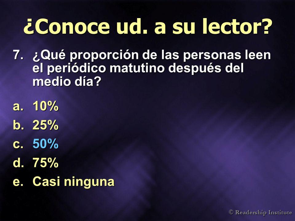 © Readership Institute ¿Conoce ud. a su lector? 7.¿Qué proporción de las personas leen el periódico matutino después del medio día? a.10% b.25% c.50%