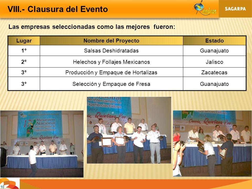 10 VIII.- Clausura del Evento Las empresas seleccionadas como las mejores fueron: LugarNombre del ProyectoEstado 1°Salsas DeshidratadasGuanajuato 2°He