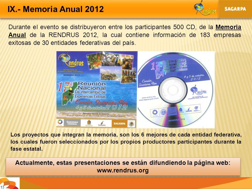 13 IX.- Memoria Anual 2012 Durante el evento se distribuyeron entre los participantes 500 CD, de la Memoria Anual de la RENDRUS 2012, la cual contiene