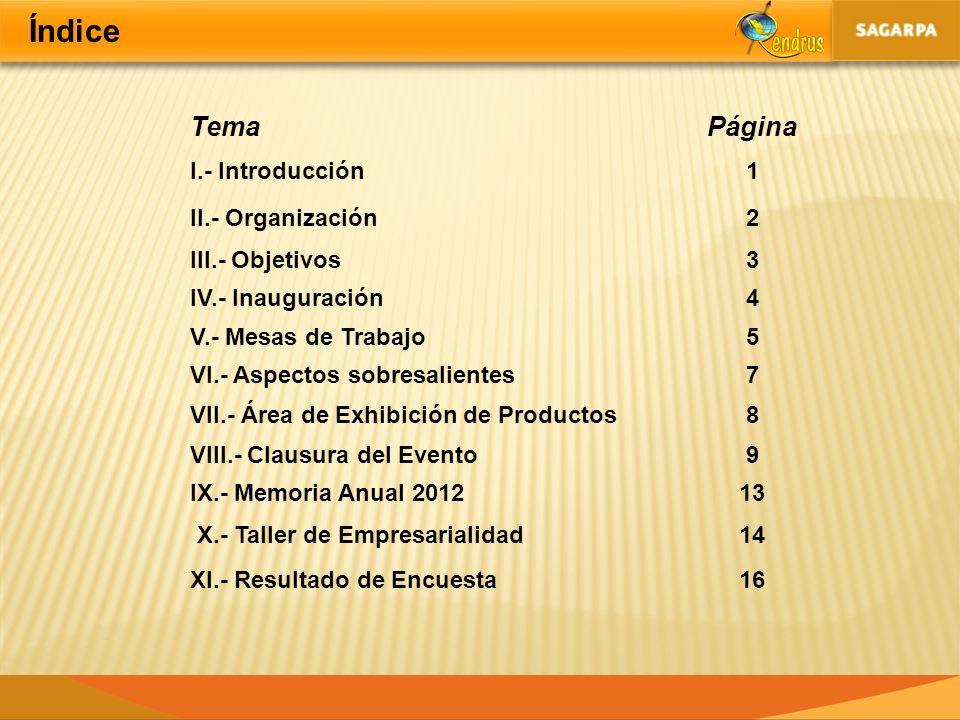 Índice TemaPágina I.- Introducción1 II.- Organización2 III.- Objetivos3 IV.- Inauguración4 V.- Mesas de Trabajo5 VI.- Aspectos sobresalientes7 VII.- Á