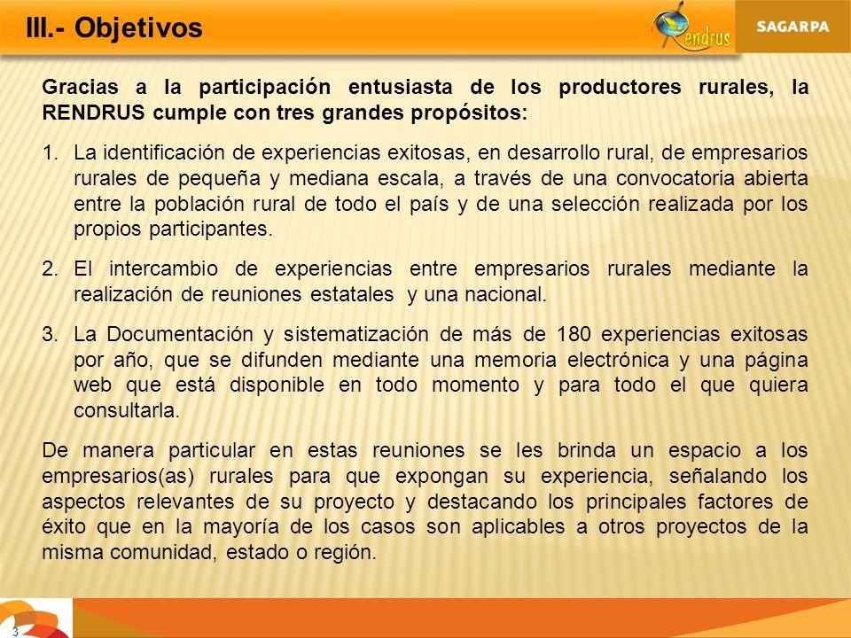 3 III.- Objetivos Gracias a la participación entusiasta de los productores rurales, la RENDRUS cumple con tres grandes propósitos: 1.La identificación