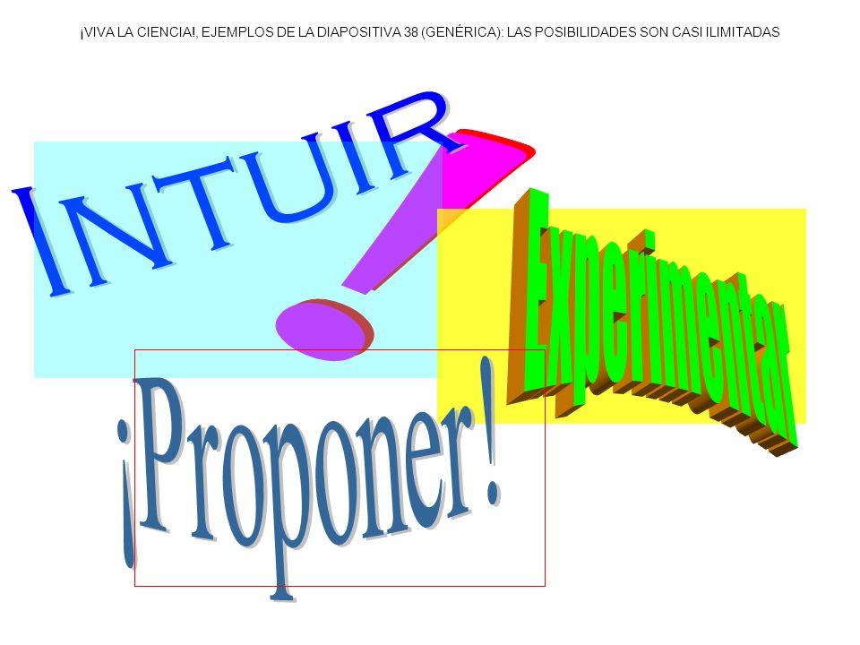 ¡VIVA LA CIENCIA!, EJEMPLOS DE LA DIAPOSITIVA 38 (GENÉRICA): LAS POSIBILIDADES SON CASI ILIMITADAS