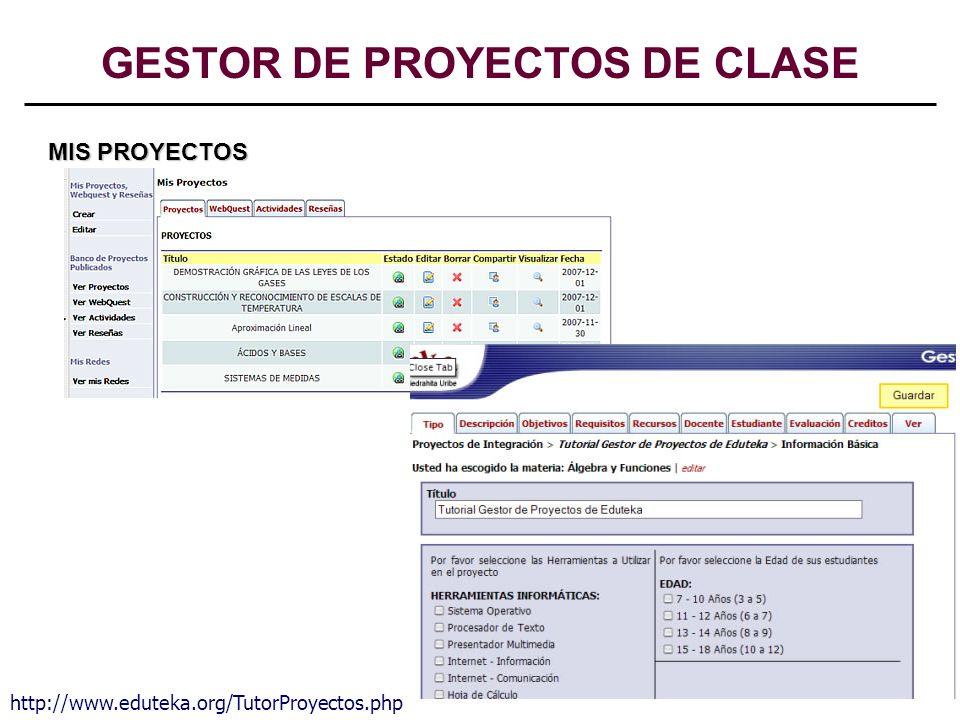 15 MIS PROYECTOS http://www.eduteka.org/TutorProyectos.php GESTOR DE PROYECTOS DE CLASE