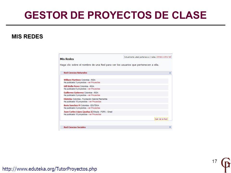 17 MIS REDES http://www.eduteka.org/TutorProyectos.php GESTOR DE PROYECTOS DE CLASE