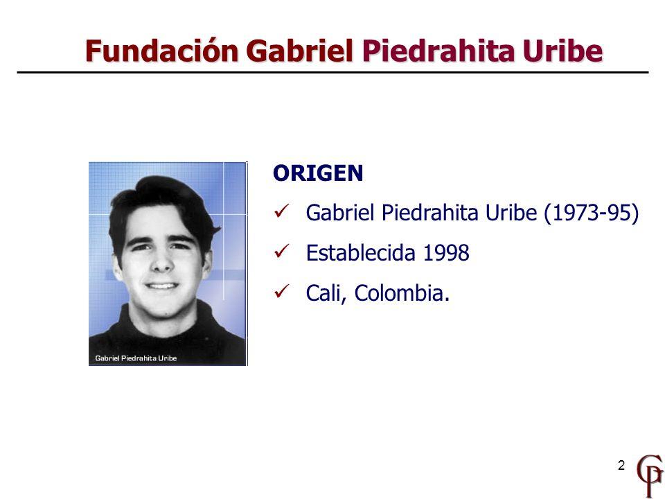 2 Fundación Gabriel Piedrahita Uribe ORIGEN Gabriel Piedrahita Uribe (1973-95) Establecida 1998 Cali, Colombia.