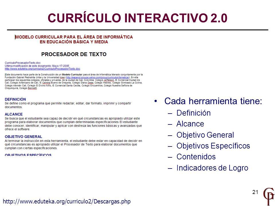 21 http://www.eduteka.org/curriculo2/Descargas.php Cada herramienta tiene: – –Definición – –Alcance – –Objetivo General – –Objetivos Específicos – –Co