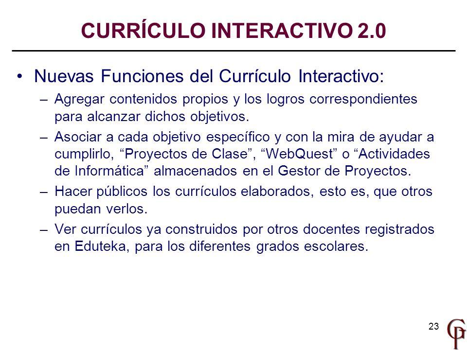 23 Nuevas Funciones del Currículo Interactivo: –Agregar contenidos propios y los logros correspondientes para alcanzar dichos objetivos. –Asociar a ca