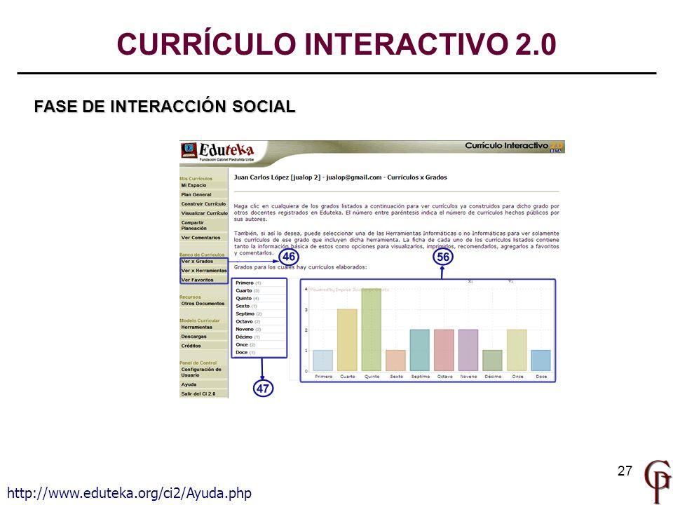 27 CURRÍCULO INTERACTIVO 2.0 FASE DE INTERACCIÓN SOCIAL http://www.eduteka.org/ci2/Ayuda.php