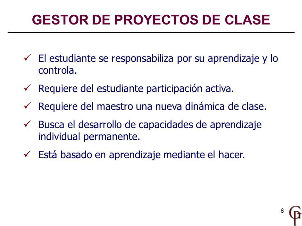 6 El estudiante se responsabiliza por su aprendizaje y lo controla. Requiere del estudiante participación activa. Requiere del maestro una nueva dinám