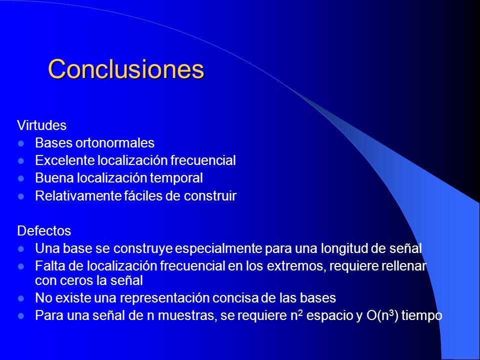 Conclusiones Virtudes Bases ortonormales Excelente localización frecuencial Buena localización temporal Relativamente fáciles de construir Defectos Un