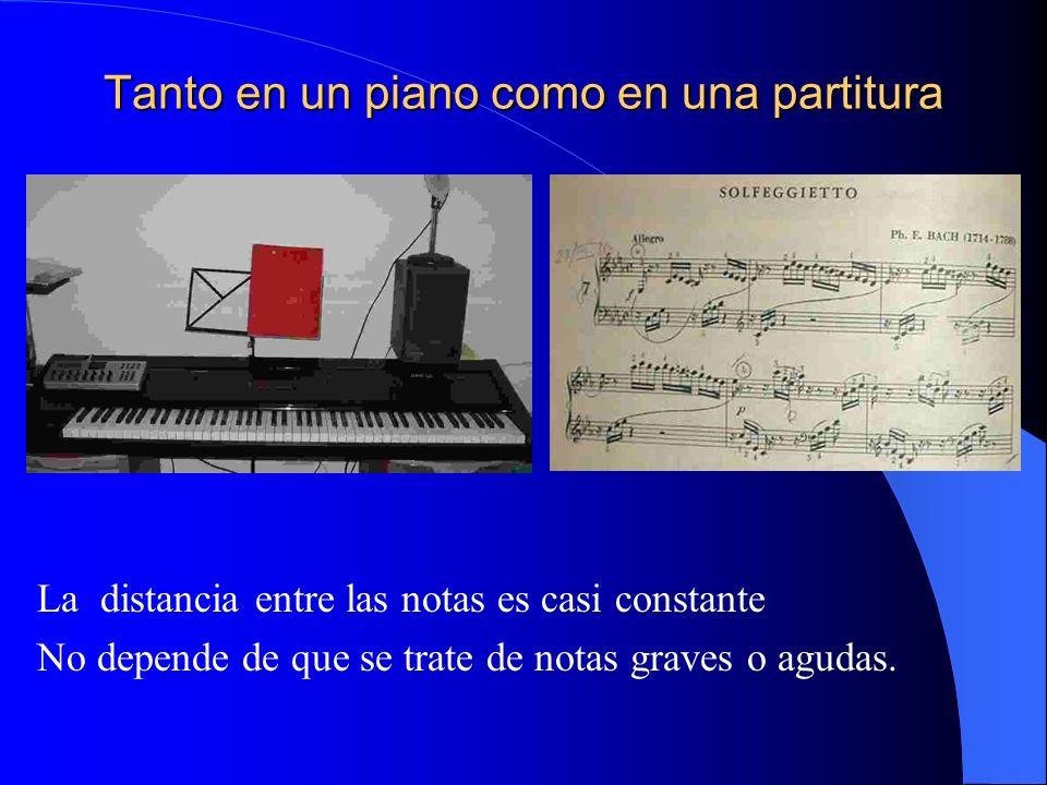 Tanto en un piano como en una partitura La distancia entre las notas es casi constante No depende de que se trate de notas graves o agudas.