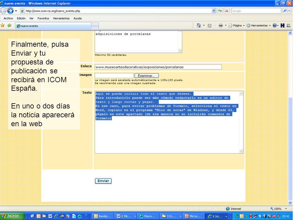 Finalmente, pulsa Enviar y tu propuesta de publicación se recibirá en ICOM España.