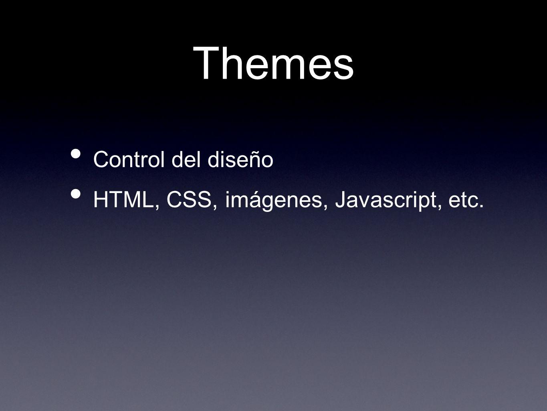 Themes Control del diseño HTML, CSS, imágenes, Javascript, etc.