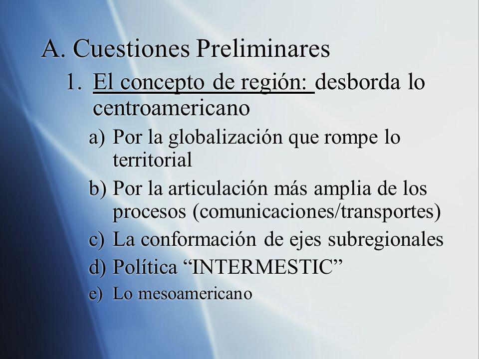 A.Cuestiones Preliminares 1.El concepto de región: desborda lo centroamericano a)Por la globalización que rompe lo territorial b)Por la articulación m