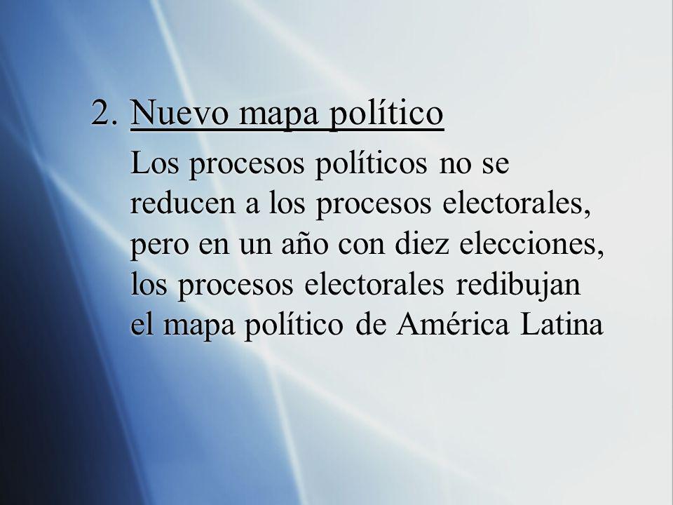2.Nuevo mapa político Los procesos políticos no se reducen a los procesos electorales, pero en un año con diez elecciones, los procesos electorales re