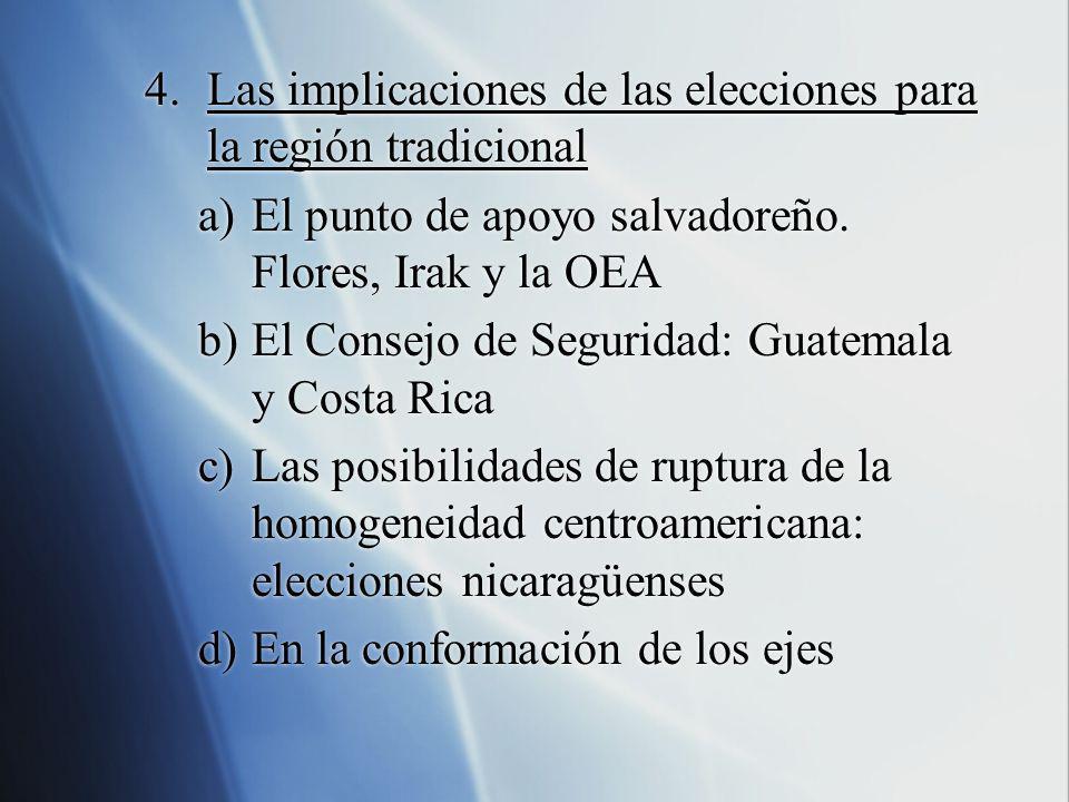 4.Las implicaciones de las elecciones para la región tradicional a)El punto de apoyo salvadoreño. Flores, Irak y la OEA b)El Consejo de Seguridad: Gua