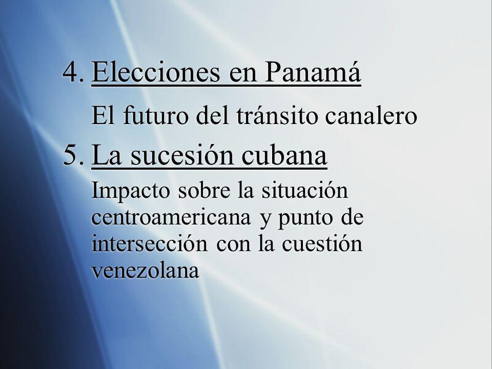 4.Elecciones en Panamá El futuro del tránsito canalero 5.La sucesión cubana Impacto sobre la situación centroamericana y punto de intersección con la