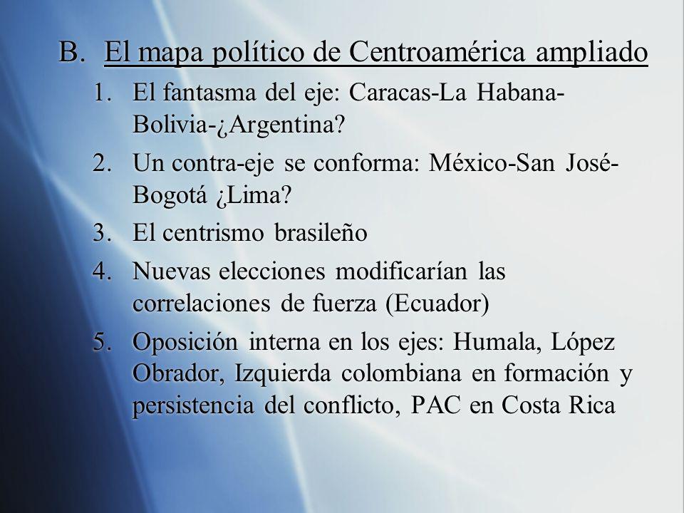 B.El mapa político de Centroamérica ampliado 1.El fantasma del eje: Caracas-La Habana- Bolivia-¿Argentina? 2.Un contra-eje se conforma: México-San Jos