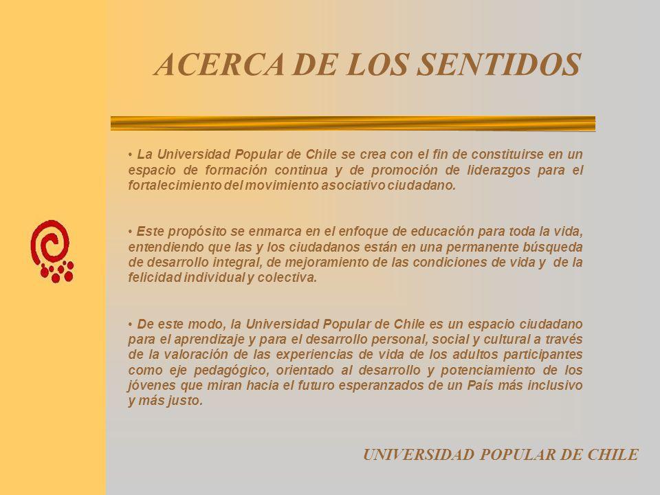 LINEAS DE ACCIÓN UNIVERSIDAD POPULAR DE CHILE D. Sistematización y puesta en práctica de un modelo participativo de formación continua de líderes y di
