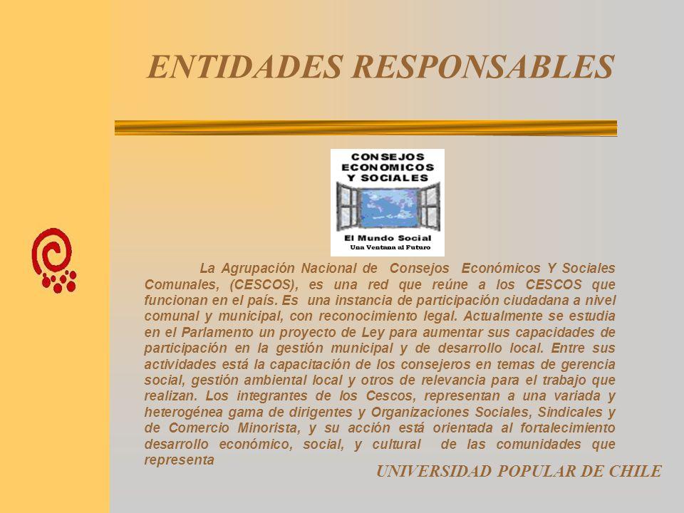 ENTIDADES RESPONSABLES UNIVERSIDAD POPULAR DE CHILE Universidad Academia de Humanismo Cristiano - UAHC. Es una entidad creada a inicios de la restaura