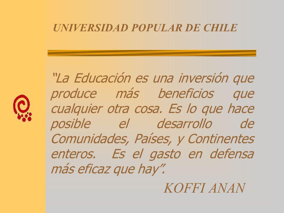 UNIVERSIDAD POPULAR DE CHILE UN CONSORCIO FORMADO POR: FUNDACION CIUDADANA PARA LAS AMERICAS AGRUPACION NACIONAL DE CESCOS UNIVERSIDAD ACADEMIA DE HUM