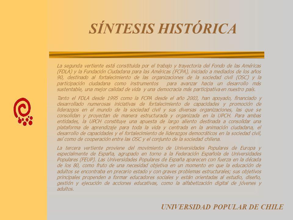 SÍNTESIS HISTORICA La Universidad Popular de Chile (UPCH) es una síntesis virtuosa de un proceso de fortalecimiento de la sociedad civil y el liderazg