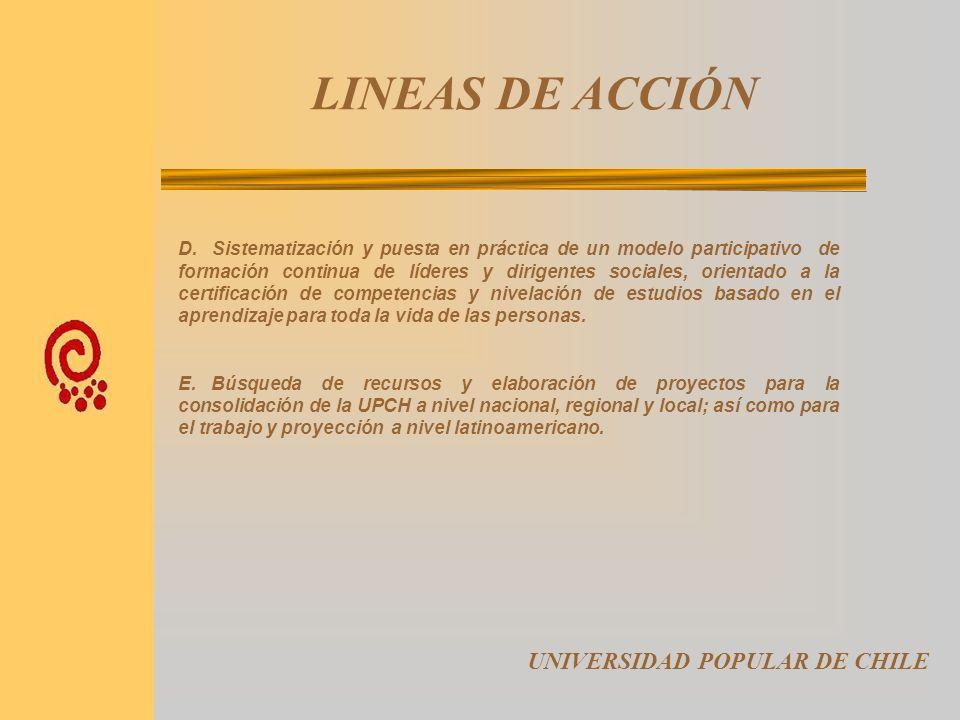 LINEAS DE ACCIÓN UNIVERSIDAD POPULAR DE CHILE A. Organización y puesta en marcha de las Universidades Populares a nivel comunal en la Región Metropoli