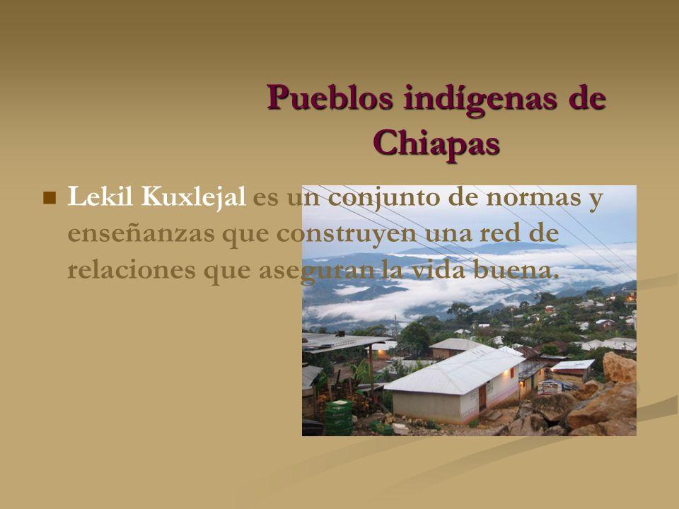 Pueblos indígenas de Chiapas Lekil Kuxlejal es un conjunto de normas y enseñanzas que construyen una red de relaciones que aseguran la vida buena.