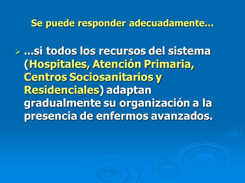 Se puede responder adecuadamente......si todos los recursos del sistema (Hospitales, Atención Primaria, Centros Sociosanitarios y Residenciales) adapt