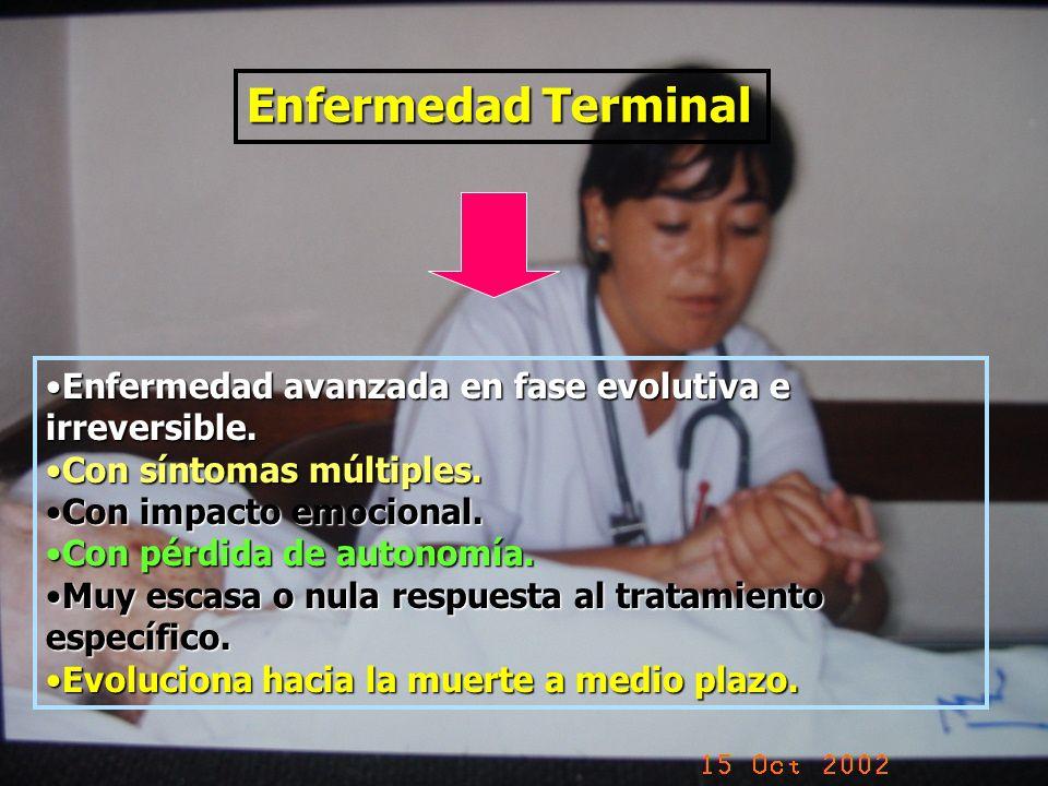 Enfermedad Terminal Enfermedad avanzada en fase evolutiva e irreversible.Enfermedad avanzada en fase evolutiva e irreversible. Con síntomas múltiples.