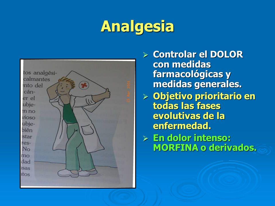 Analgesia Controlar el DOLOR con medidas farmacológicas y medidas generales. Controlar el DOLOR con medidas farmacológicas y medidas generales. Objeti