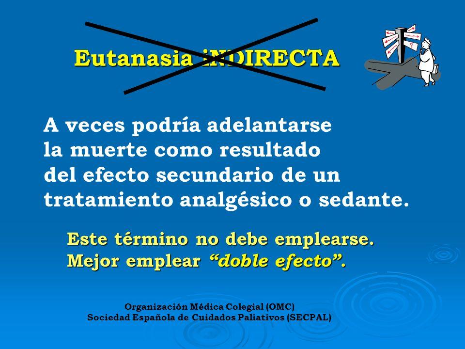 Eutanasia iNDIRECTA A veces podría adelantarse la muerte como resultado del efecto secundario de un tratamiento analgésico o sedante. Este término no