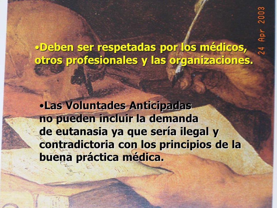 Deben ser respetadas por los médicos,Deben ser respetadas por los médicos, otros profesionales y las organizaciones. Las Voluntades AnticipadasLas Vol