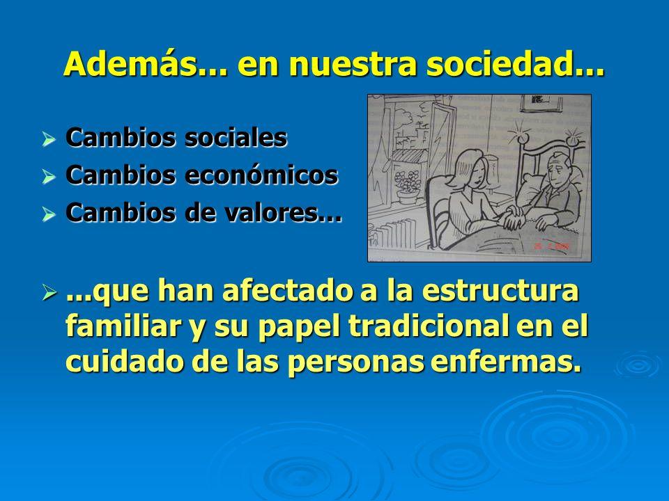 Además... en nuestra sociedad... Cambios sociales Cambios sociales Cambios económicos Cambios económicos Cambios de valores... Cambios de valores.....