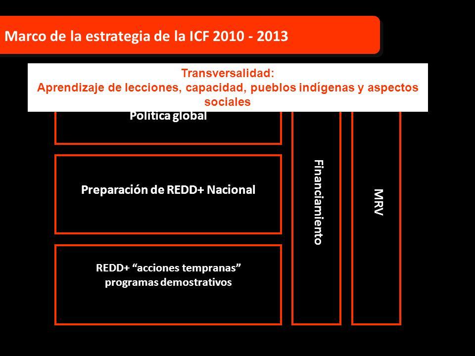 Política global Preparación de REDD+ Nacional REDD+ acciones tempranas programas demostrativos Financiamiento Marco de la estrategia de la ICF 2010 -