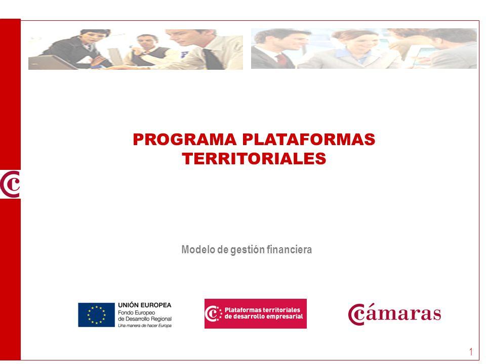 Programa Plataformas Territoriales MÓDULO Financiero 1 PROGRAMA PLATAFORMAS TERRITORIALES Modelo de gestión financiera