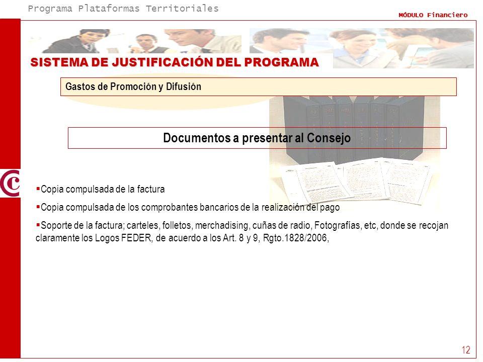 Programa Plataformas Territoriales MÓDULO Financiero 12 SISTEMA DE JUSTIFICACIÓN DEL PROGRAMA Documentos a presentar al Consejo Gastos de Promoción y