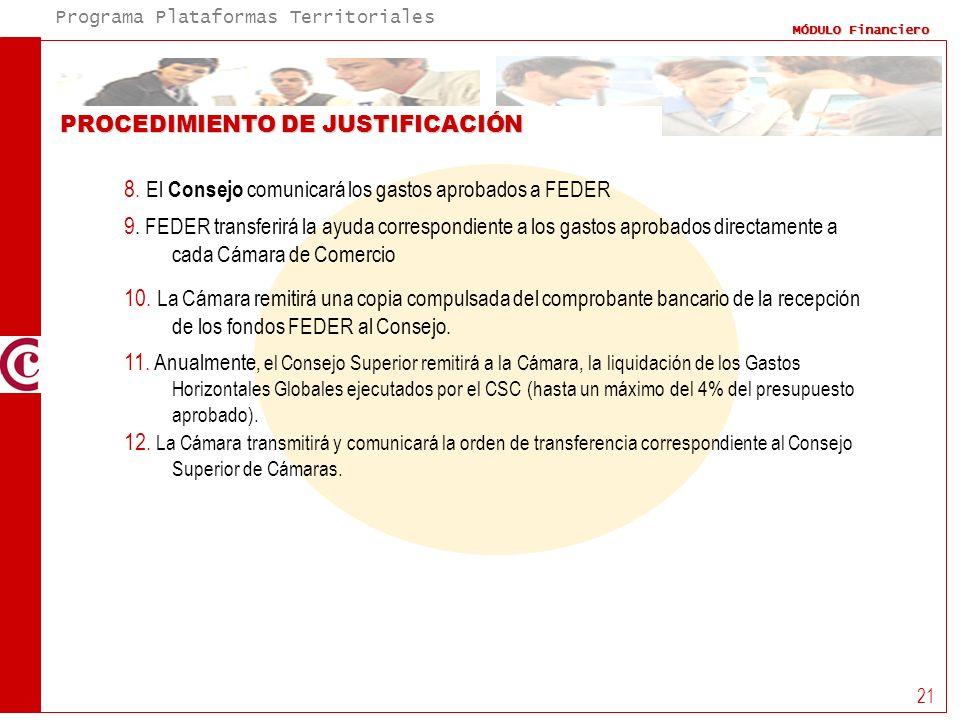 Programa Plataformas Territoriales MÓDULO Financiero 21 PROCEDIMIENTO DE JUSTIFICACIÓN 8. El Consejo comunicará los gastos aprobados a FEDER 9. FEDER