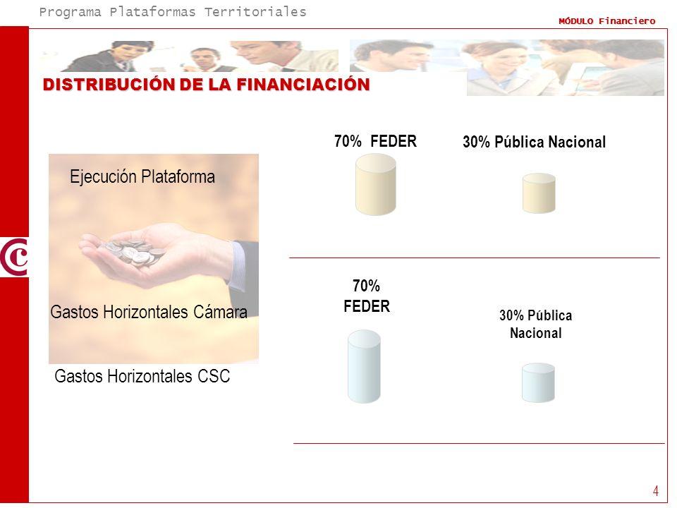 Programa Plataformas Territoriales MÓDULO Financiero 4 DISTRIBUCIÓN DE LA FINANCIACIÓN Ejecución Plataforma 70% FEDER 30% Pública Nacional 70% FEDER G