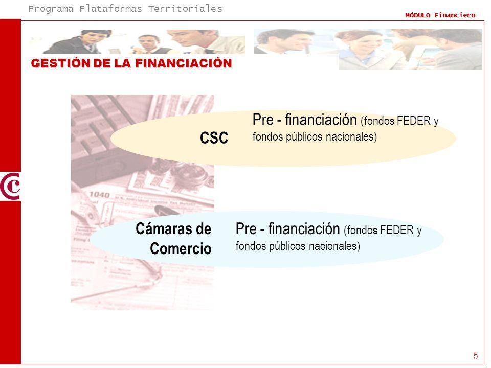 Programa Plataformas Territoriales MÓDULO Financiero 5 GESTIÓN DE LA FINANCIACIÓN CSC Pre - financiación (fondos FEDER y fondos públicos nacionales) C