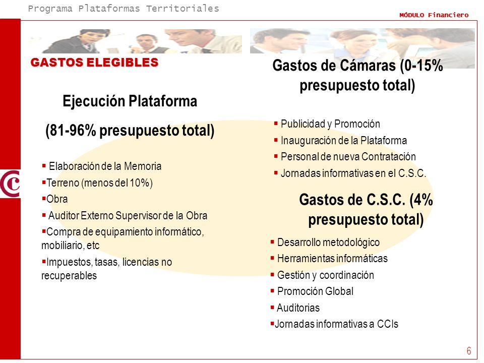 Programa Plataformas Territoriales MÓDULO Financiero 6 GASTOS ELEGIBLES Gastos de Cámaras (0-15% presupuesto total) Ejecución Plataforma (81-96% presu