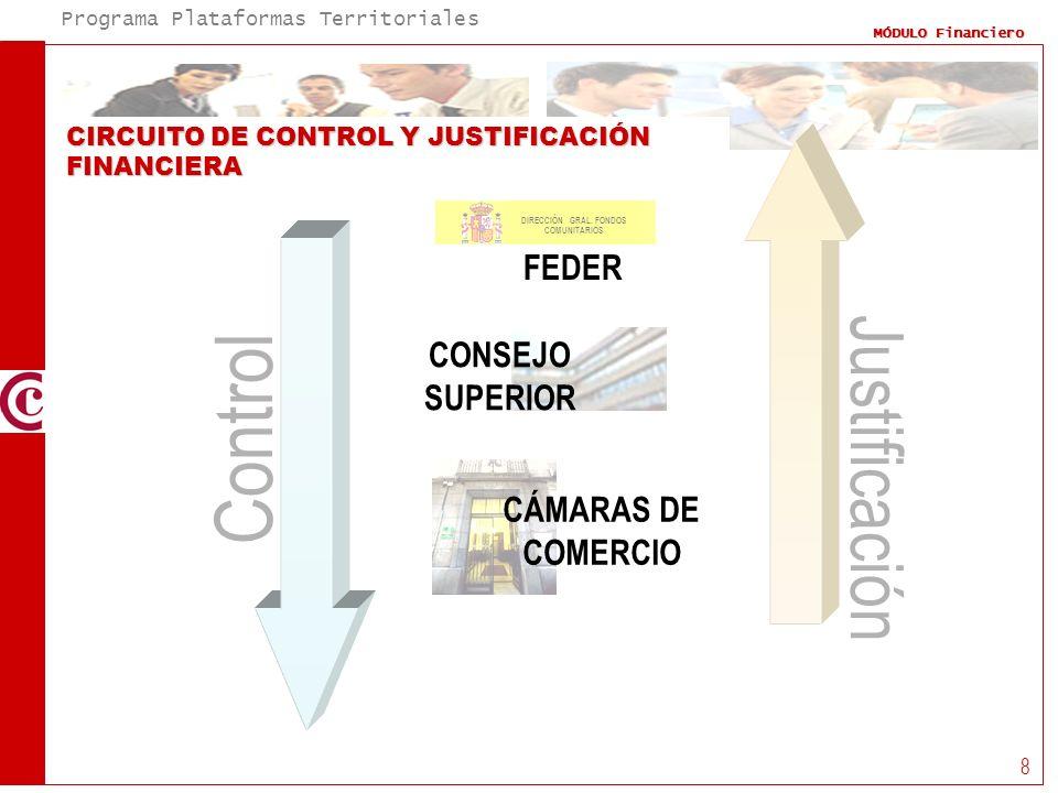 Programa Plataformas Territoriales MÓDULO Financiero 8 CIRCUITO DE CONTROL Y JUSTIFICACIÓN FINANCIERA CONSEJO SUPERIOR CÁMARAS DE COMERCIO Control Jus
