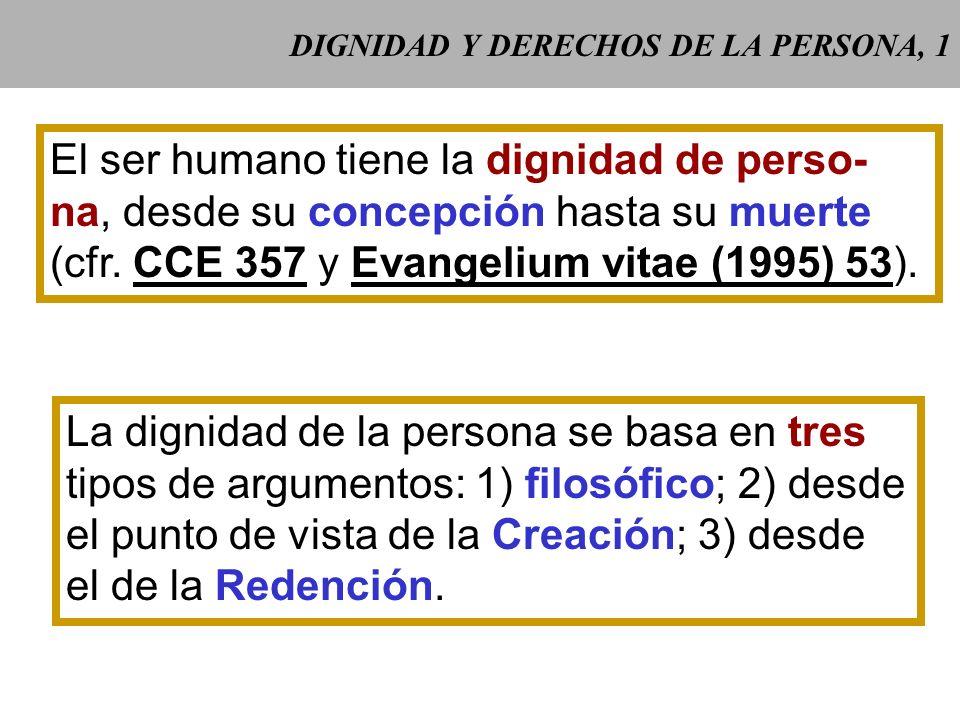 DIGNIDAD Y DERECHOS DE LA PERSONA, 1 El ser humano tiene la dignidad de perso- na, desde su concepción hasta su muerte (cfr.