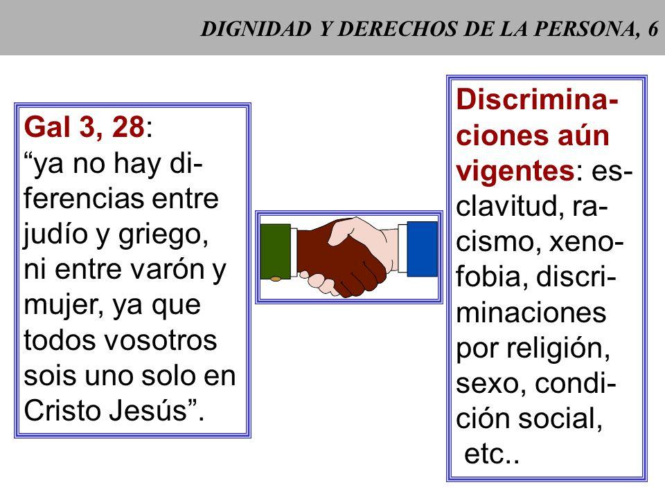 DIGNIDAD Y DERECHOS DE LA PERSONA, 5 Gaudium et spes 29 Gaudium et spes 29: La igualdad funda- mental entre todos los hombres exige un reconocimiento