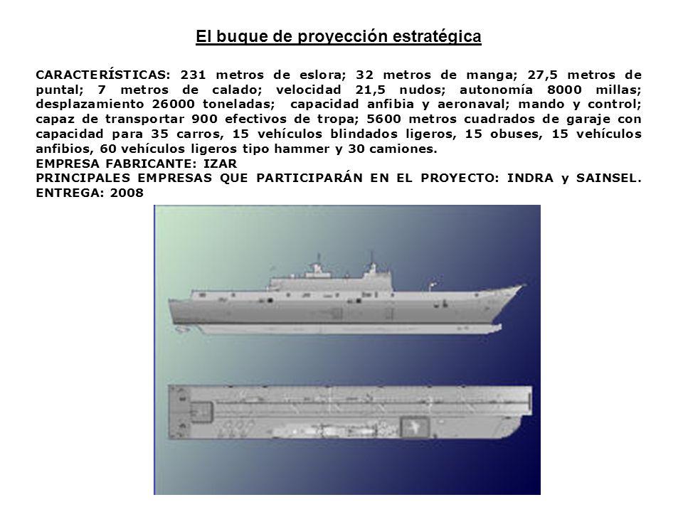 El buque de proyección estratégica CARACTERÍSTICAS: 231 metros de eslora; 32 metros de manga; 27,5 metros de puntal; 7 metros de calado; velocidad 21,