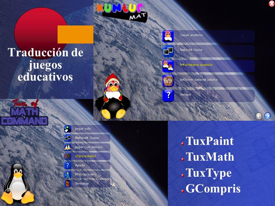 Traducción de juegos educativos TuxPaint TuxMath TuxType GCompris